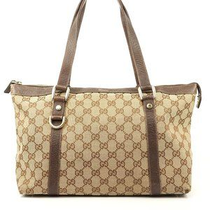 Auth Gucci Abbey Gg Tote Bag Brown #6733G87